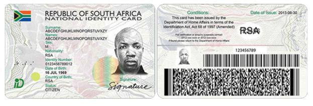 SA ID CARD FRONT and rear